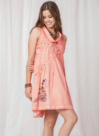 Angels Never Die Pink Linen Dress, Canada US