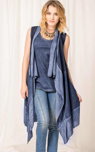 Angels Never Die Blue Vest Cardigan