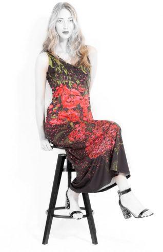 VOLT Design Long Black Red Dress