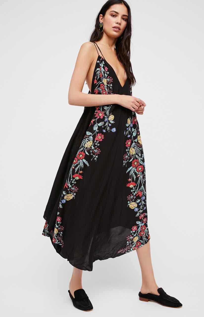 Free People Black Floral Long Slip