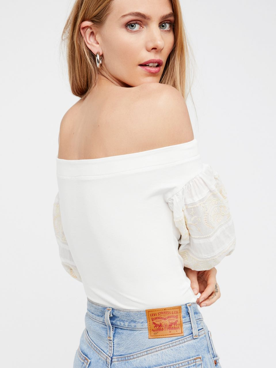 INC Womens Metallic Ruffled Cold Shoulder Blouse Top BHFO 2527
