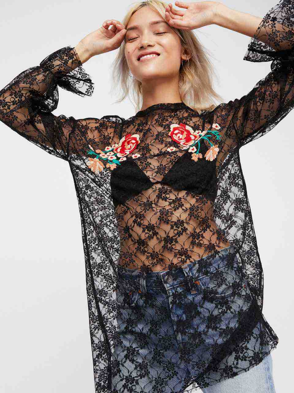 Free people Black Lace Top with Floral Embroidery