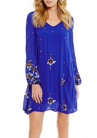Free People Blue Oxford Embroidered Dress