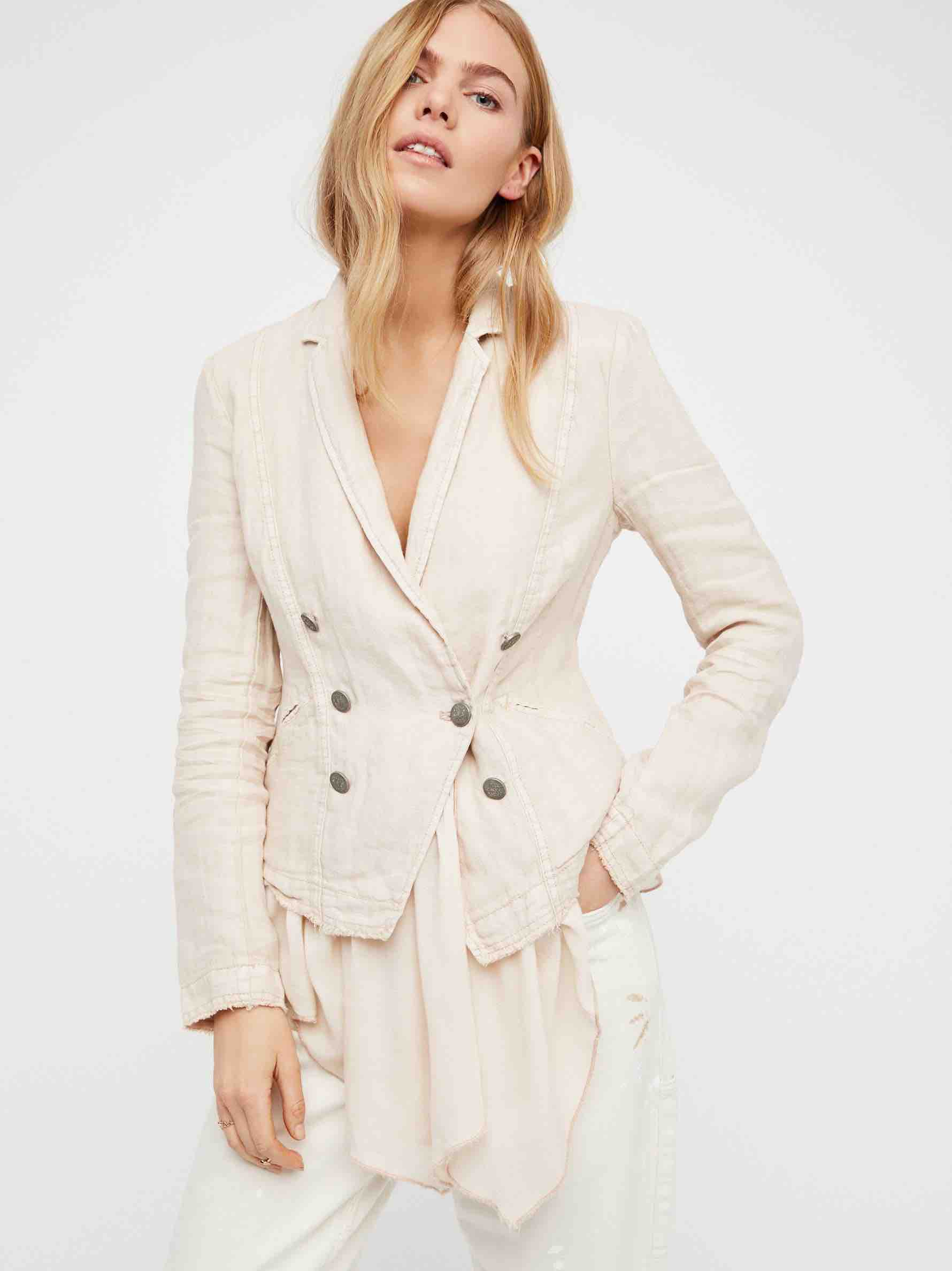 Free People Layered Ruffles Blazer
