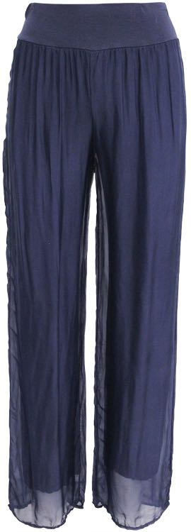 M Made in Italy Navy SIlk Pants 11/8897H Buy Online
