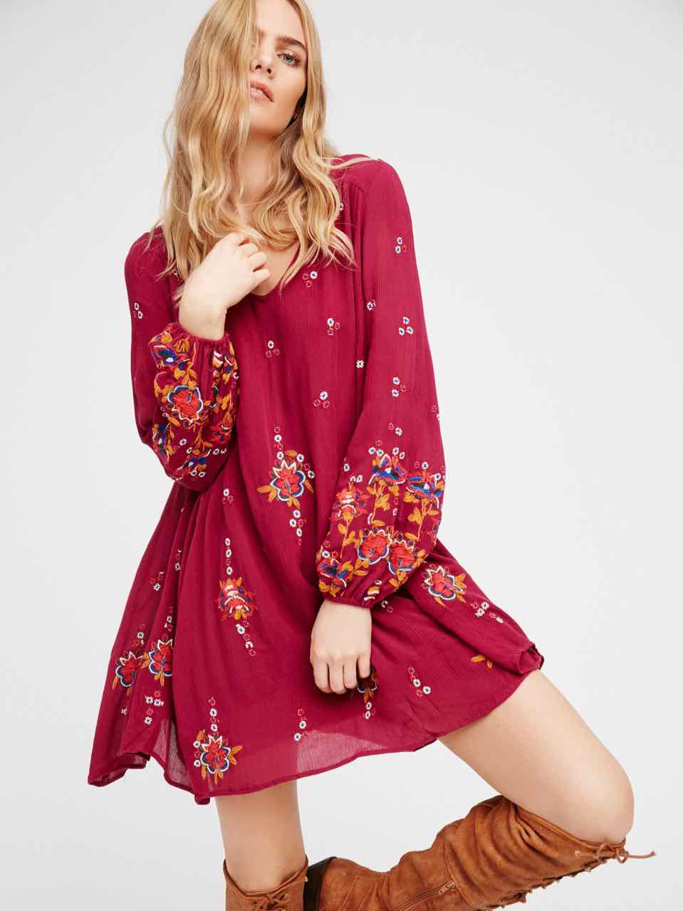Free People Oxford Embroidered Mini Burgundy