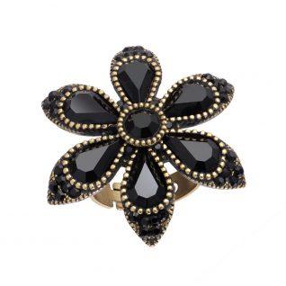 Michal Negrin Star Flower Black Ring