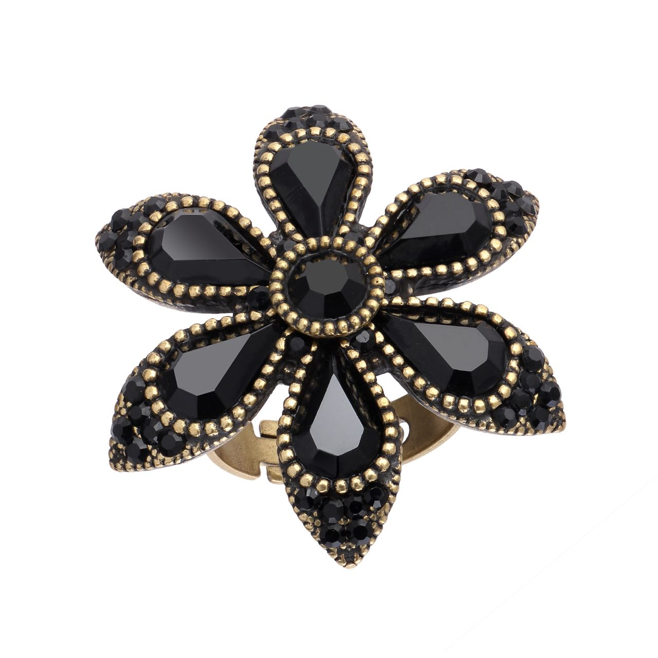 Michal Negrin Star Flower Black Ring