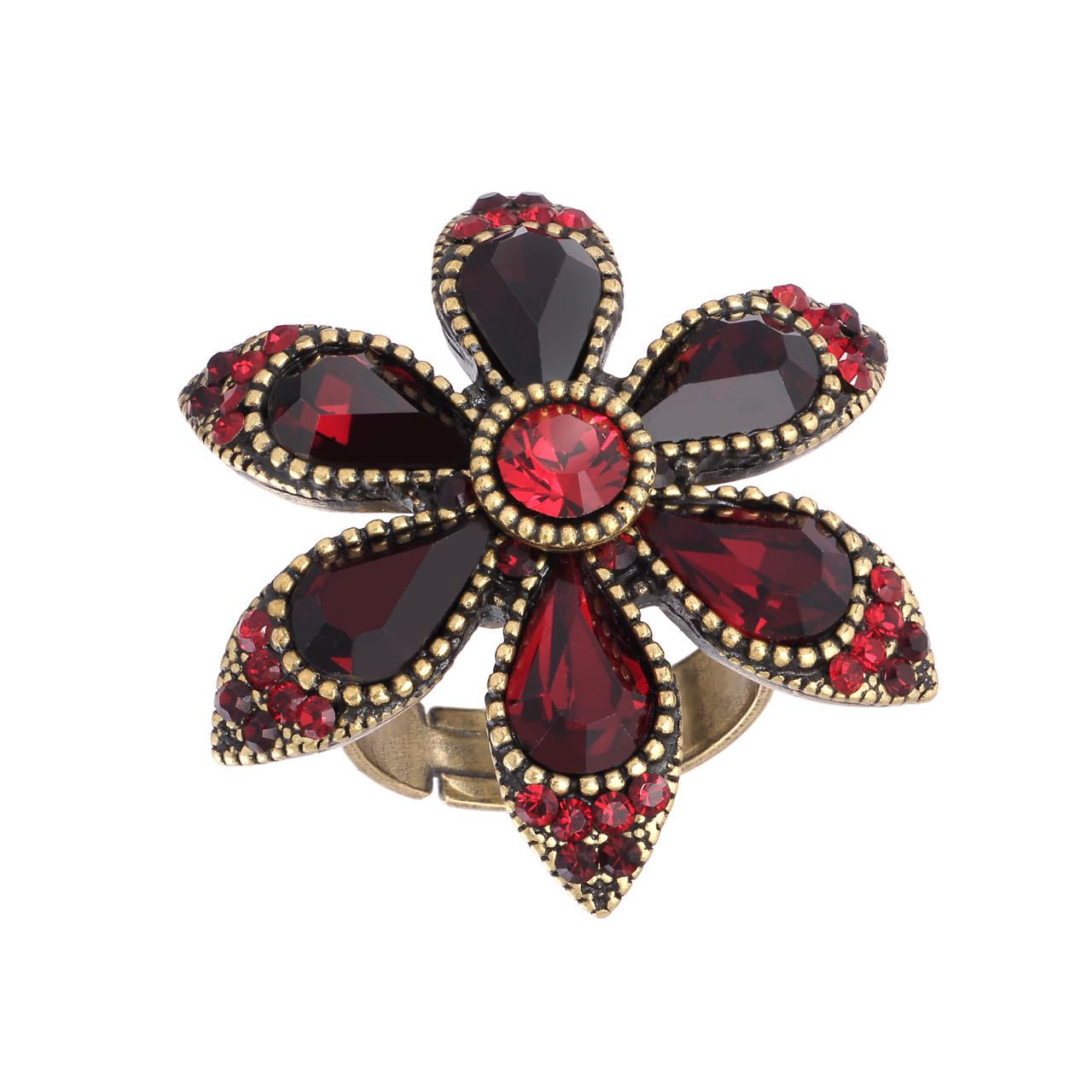 Michal Negrin Flower Ring Red and Black
