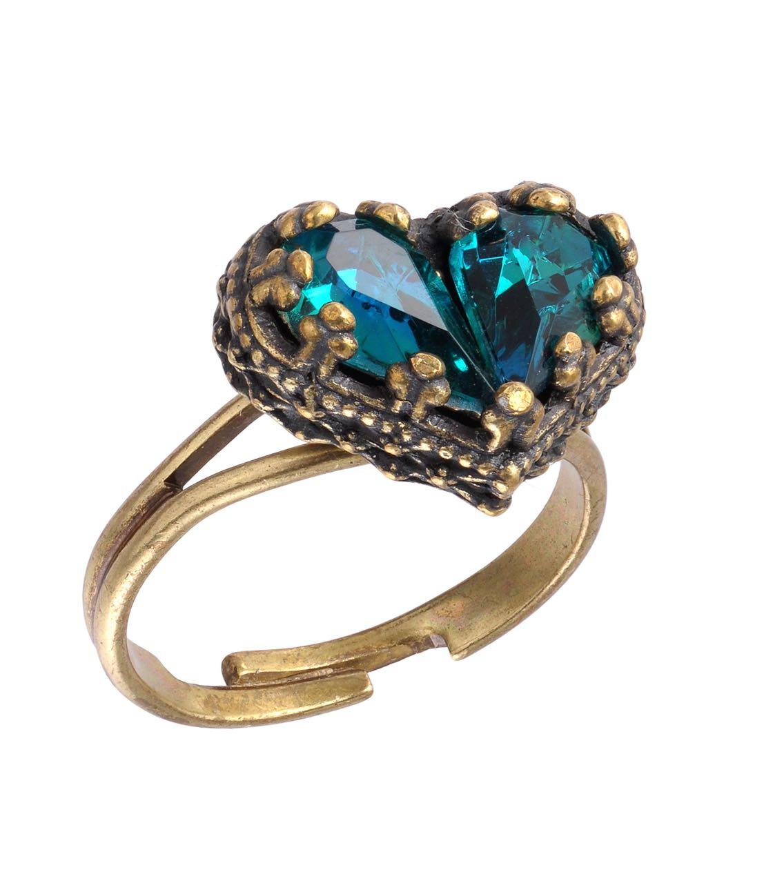 Michal Negrin Heart Ring Deep Aqua Blue
