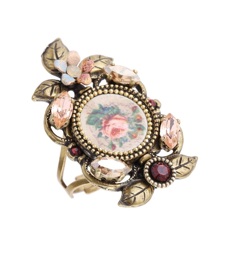 Michal Negrin Vintage Floral Long Ring