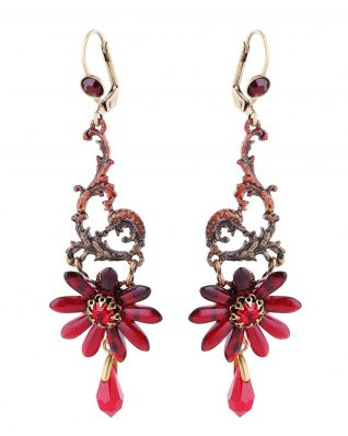 Michal Negrin Red Floral Earring