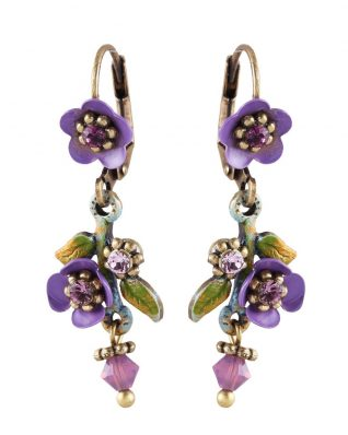 Michal Negrin Purple Floral Earrings