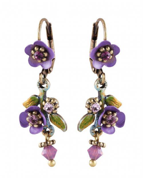 Michal Negrin Purple Floral Earrings