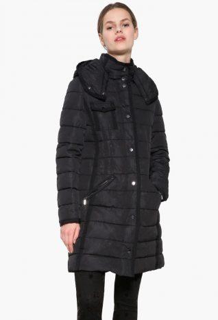 17WWEW47_2000 Desigual Coat Pisa Black Buy Online