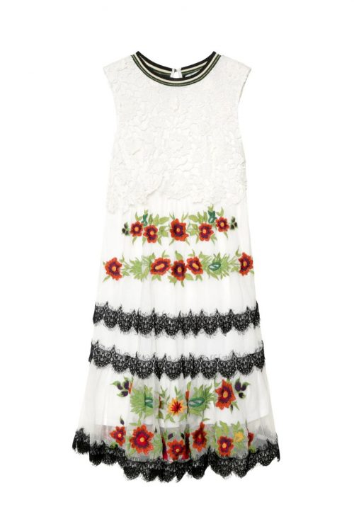 Desigual White Dress with Lace and Embroidery