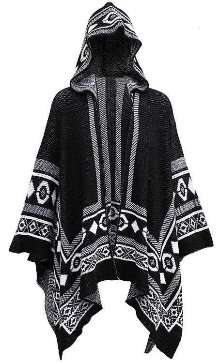 M Made in Italy Black & White Poncho Buy Online
