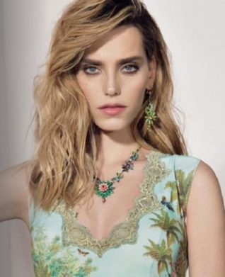 Michal Negrin Floral Earrings and Necklace Model