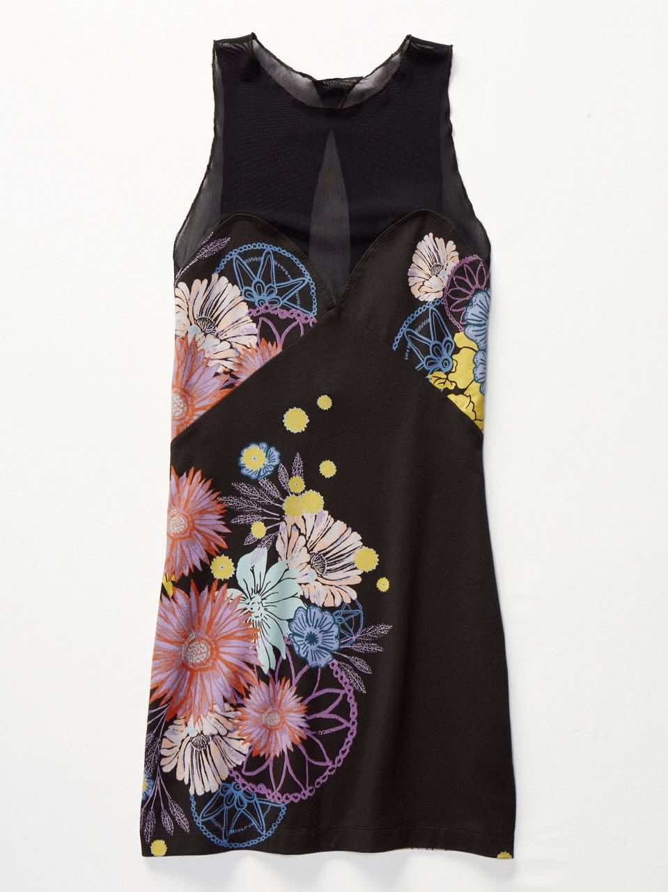 Free People Fitted Black Floral Dress