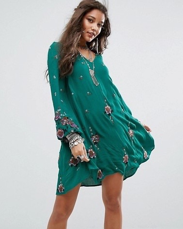 Free People Oxford Embroidered Mini Green