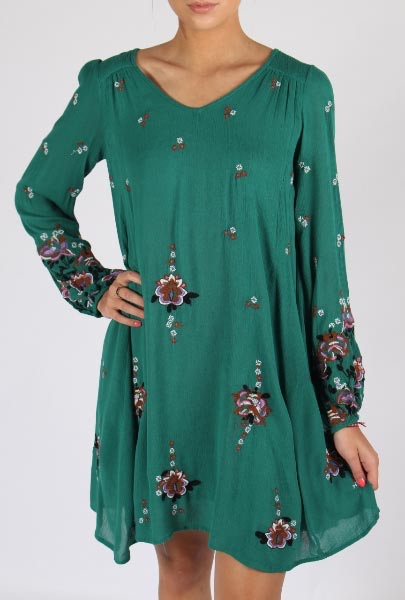 Free People Oxford Embroidered Dress Green