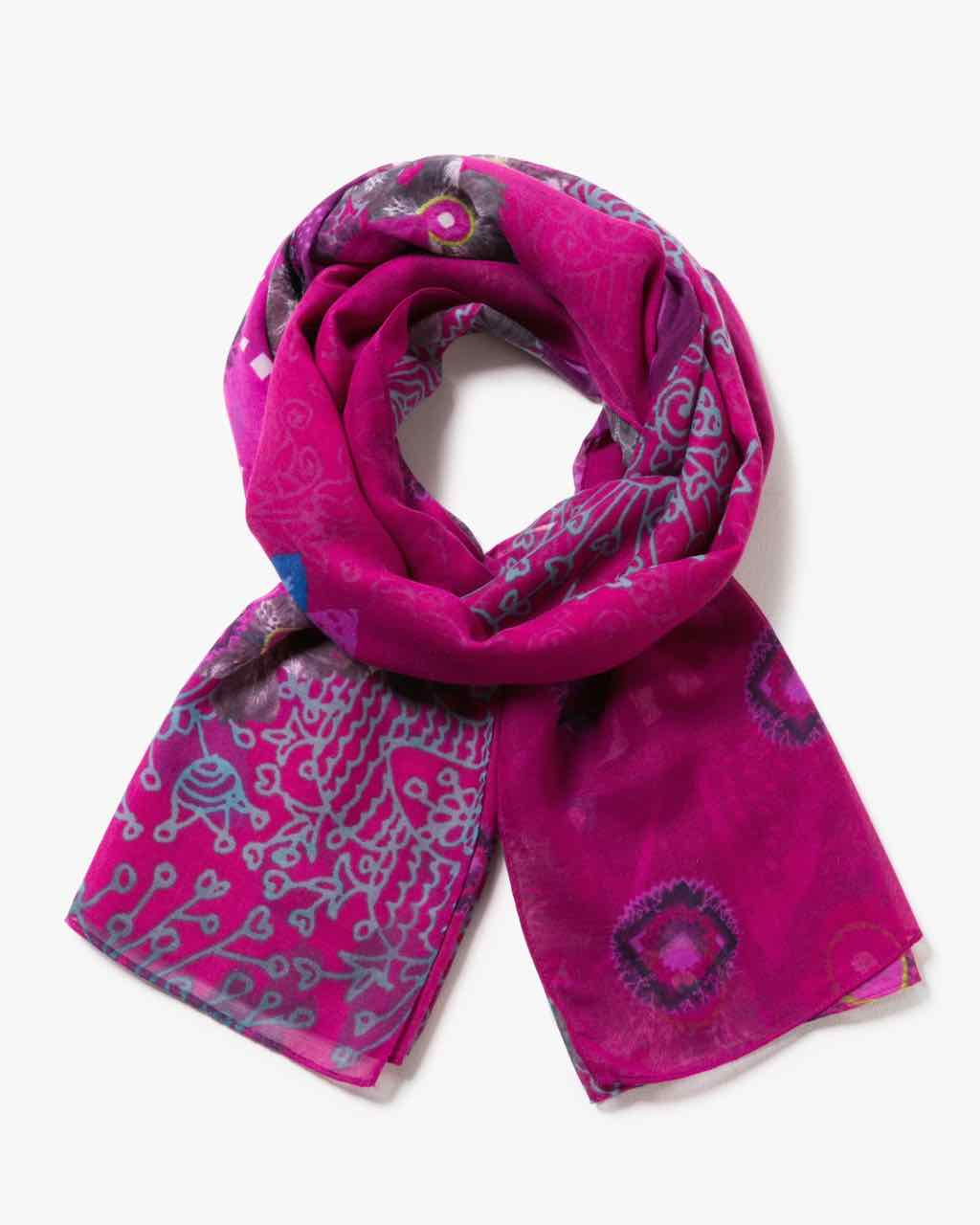 17WAWFE8_3070 Desigual Scarf Rectangle Bollywood Burgundy Purple Buy Online