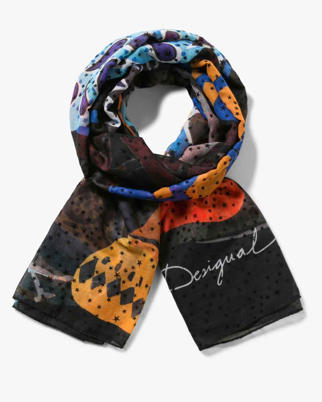 17WAWFH0_2000 Desigual Scarf Rectangle Winter Stripes 1 Buy Online