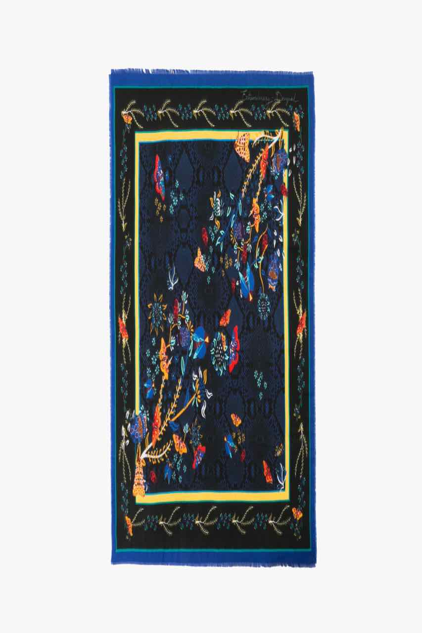 17WAWFH7_5001 Desigual Scarf Winter Floral Big (black blue) Canada