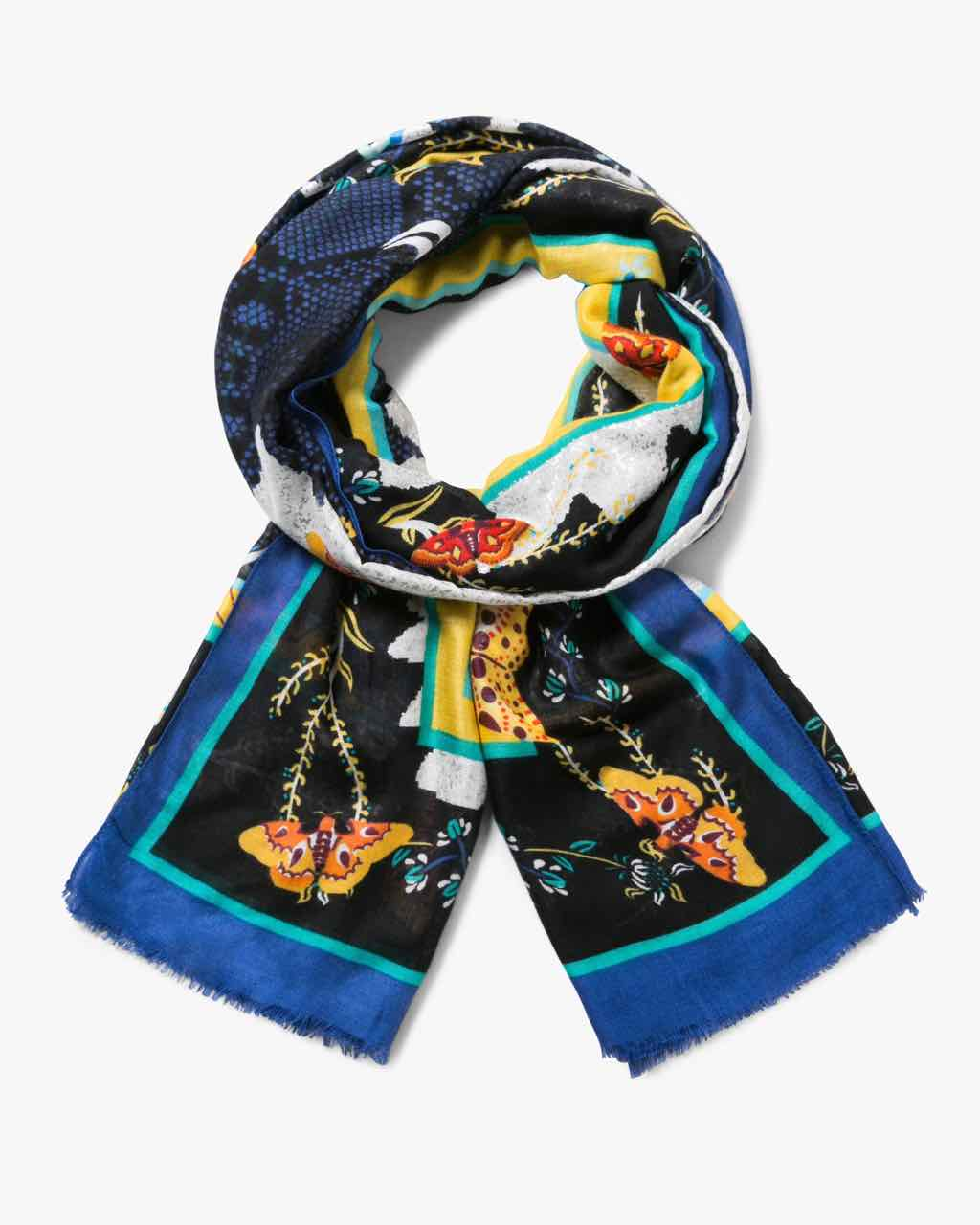 17WAWFH7_5001 Desigual Scarf Winter Floral Big (black blue) Buy Online