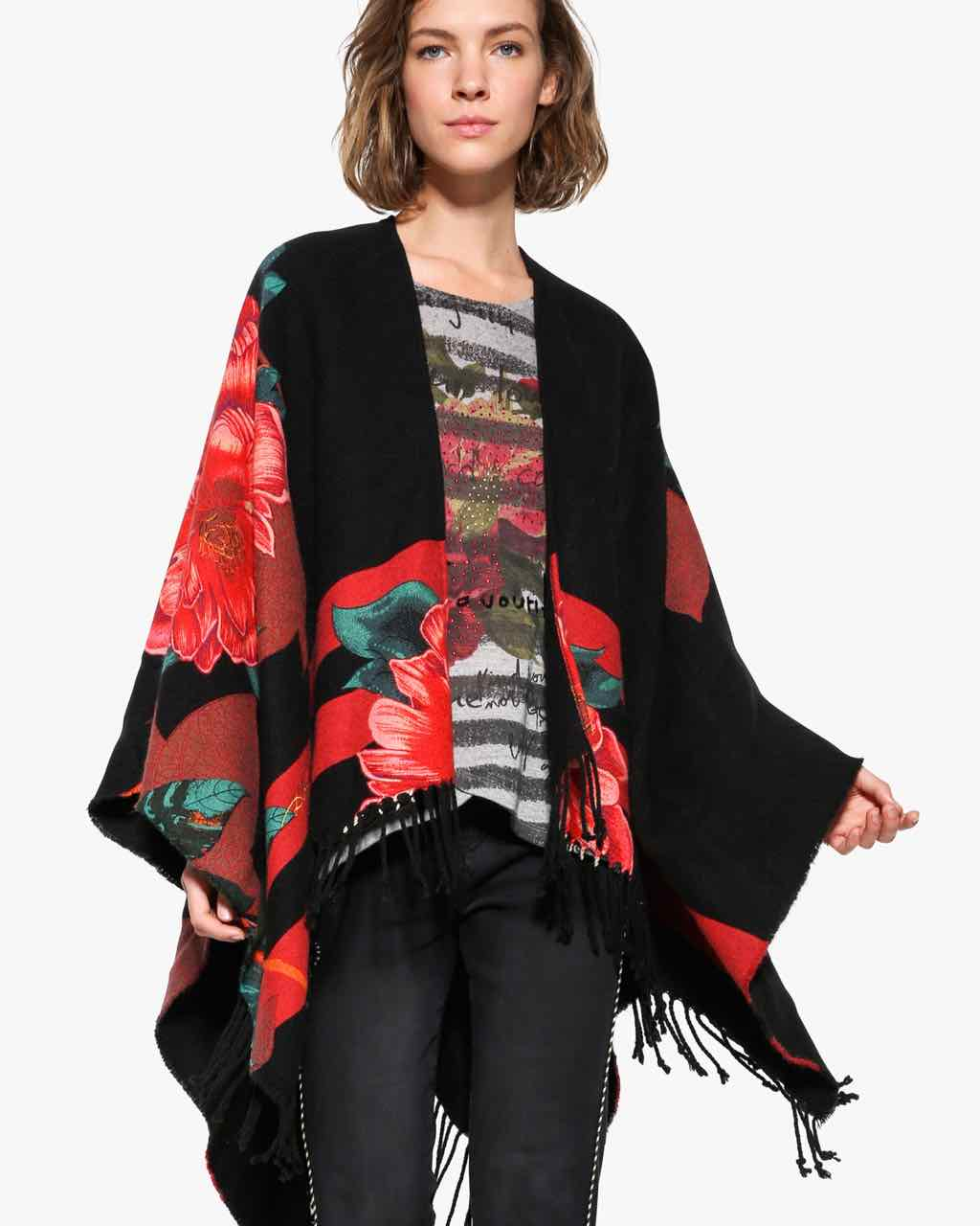 Desigual Black Red POncho