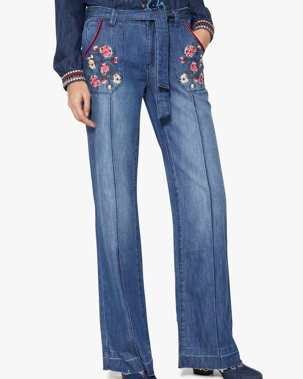 Desigual Wide Leg Denim Pants