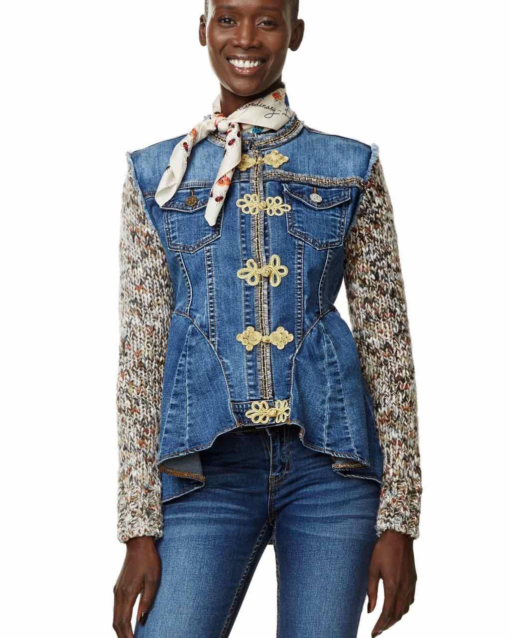 Desigual Exotic Ruffles Jeans Jacket