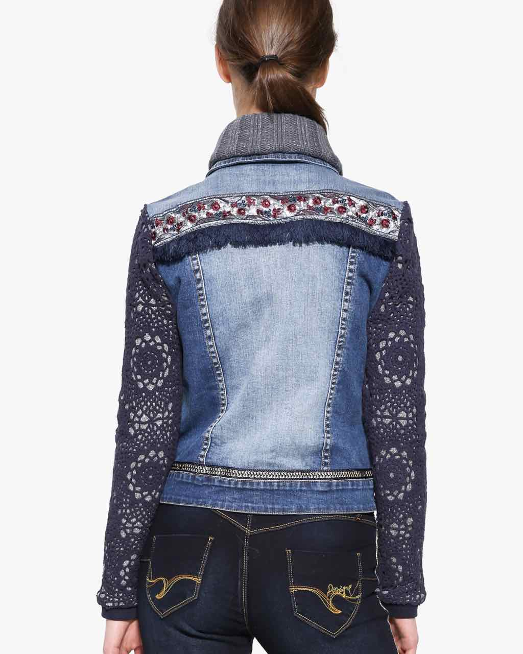 Desigual Denim Jacket Exotic Crochet 17wwed39 Buy Online