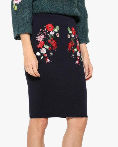 Desigual Black Skirt with Floral Embroidery