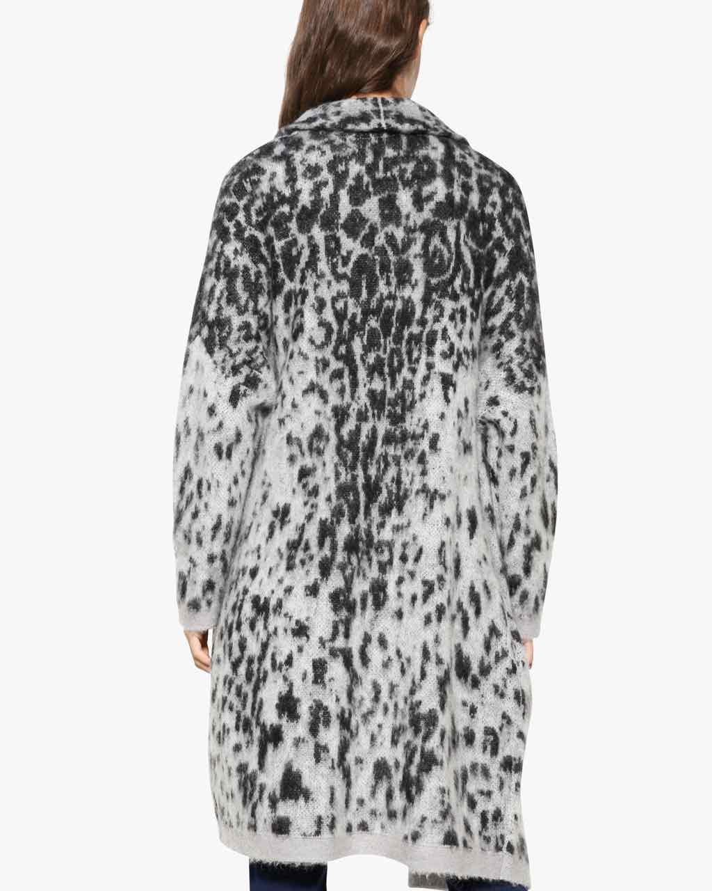 Desigual Cardigan Jacket Grey Leopard 17wwjfc Vest With