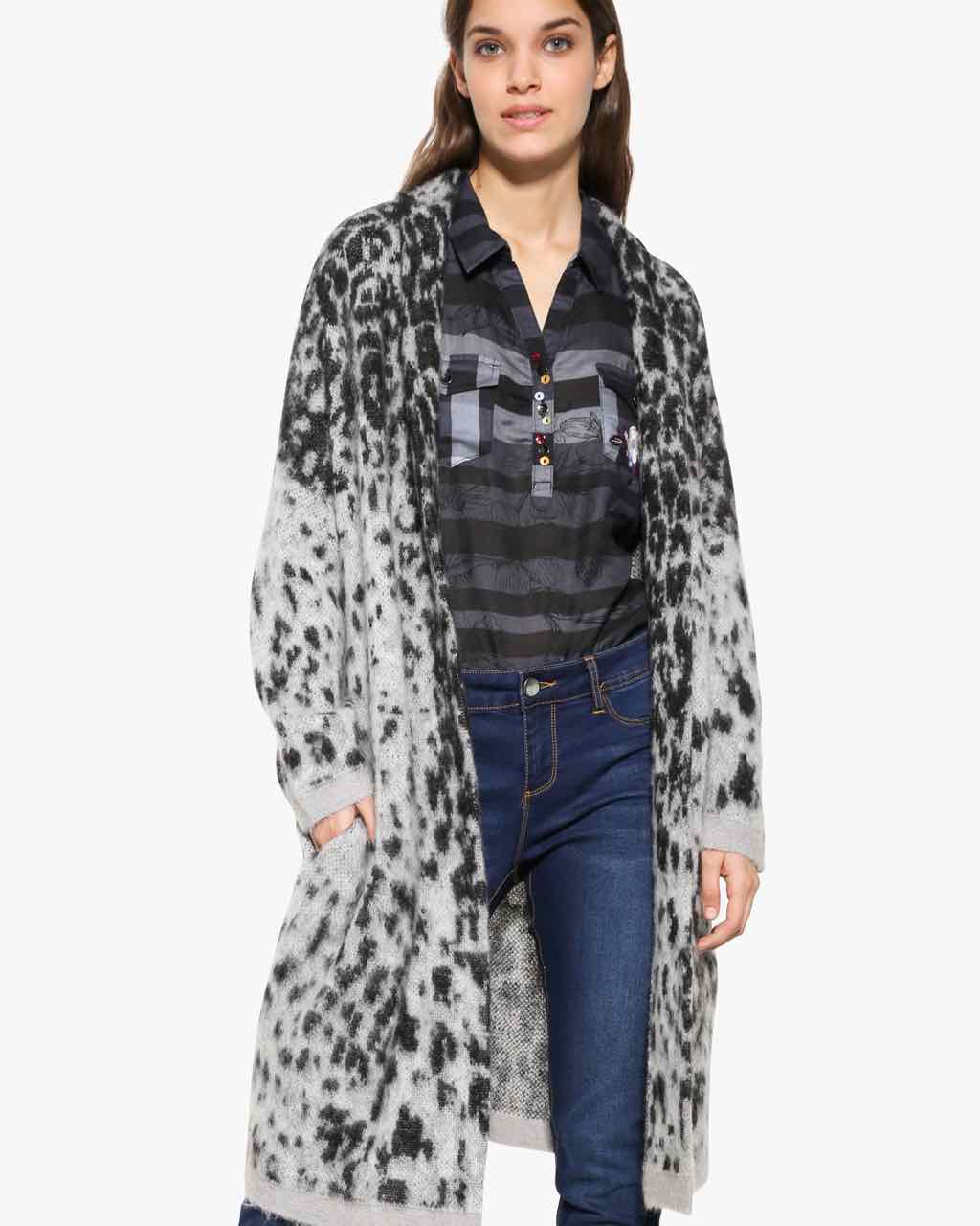 17WWJFC4_2023 Desigual Cardigan Jacket Grey Leopard Buy Online