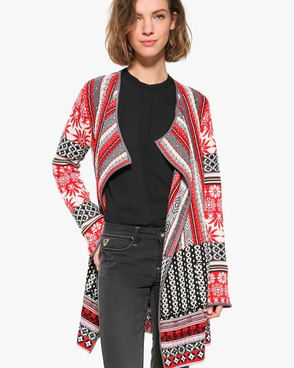 Desigual Cardigan Call, Black White Red