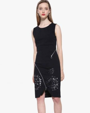 Desigual Black Dress with Laser Cutout Design