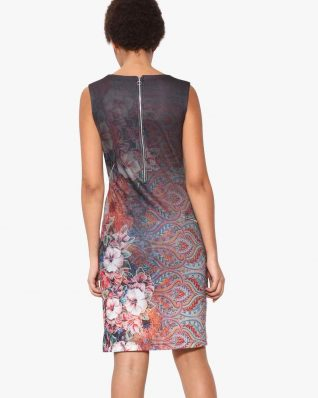 Desigual Pinafor Dress Floral Faded Design