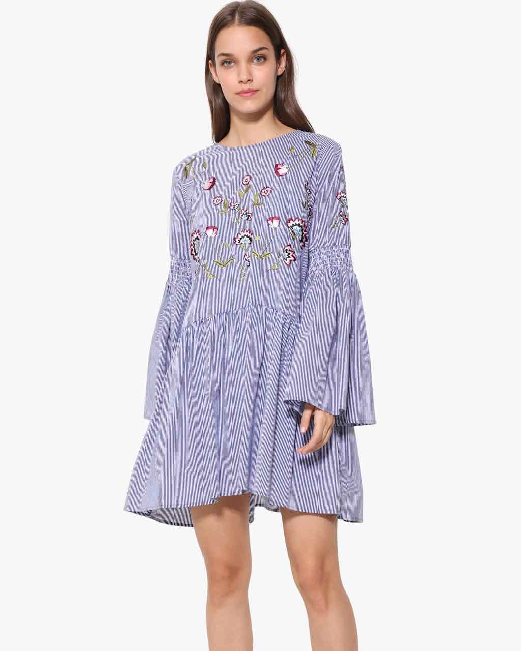 Desigual Flared Dress with Bell Sleeves