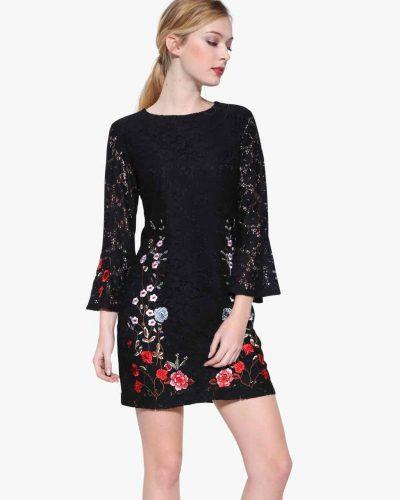Desigual Dress Vermond, Black Lace Embroidery