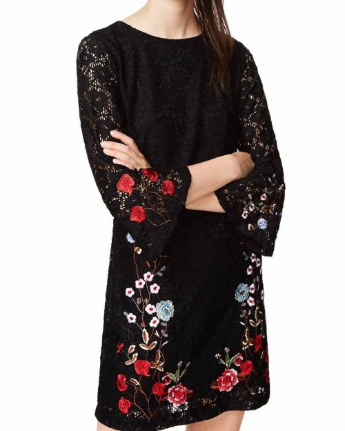 Desigual Lace Dress with Floral Embroidery, Fall Winter 2017 2018
