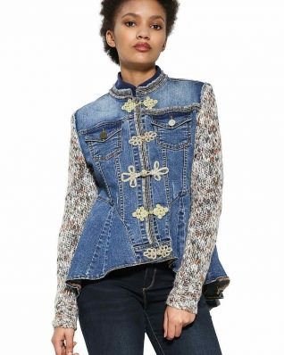 Desigual Denim Jacket Exotic Ruffles