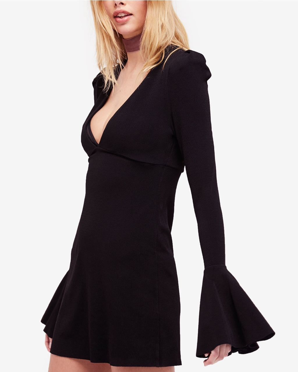 Free People Black Dress with Bell Sleeves