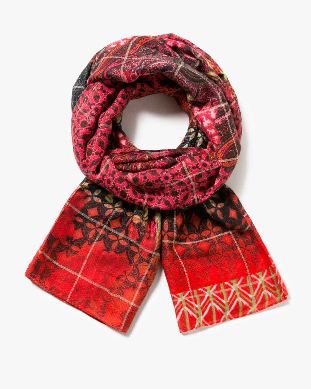 17WAWFC8_3000 Desigual Scarf Rectangle Boho (Carmin) Buy Onlline