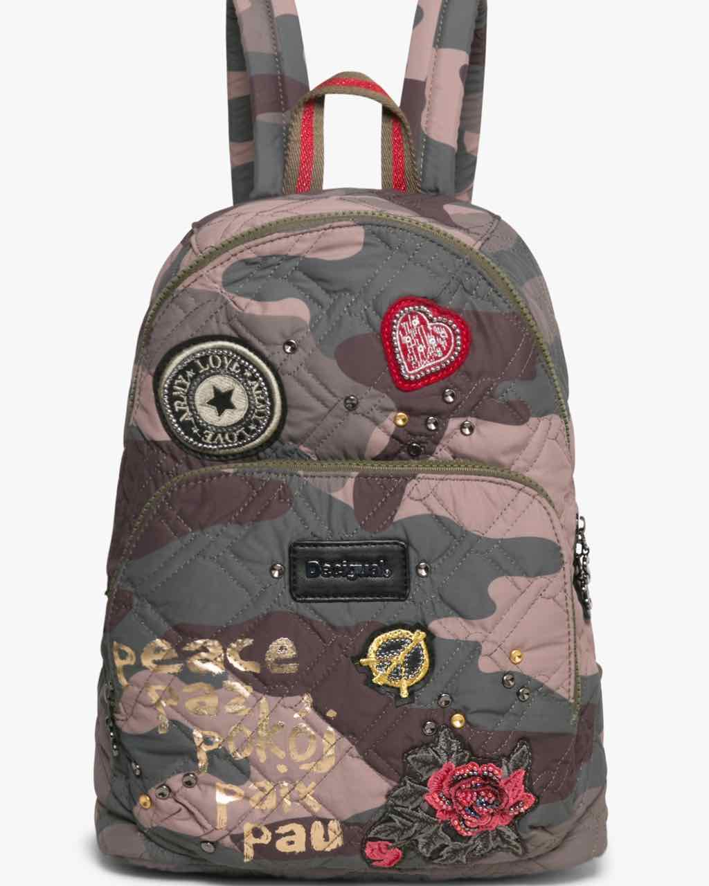 17WAXFJR_4087 Desigual Backpack Lima Military Parches Buy Online