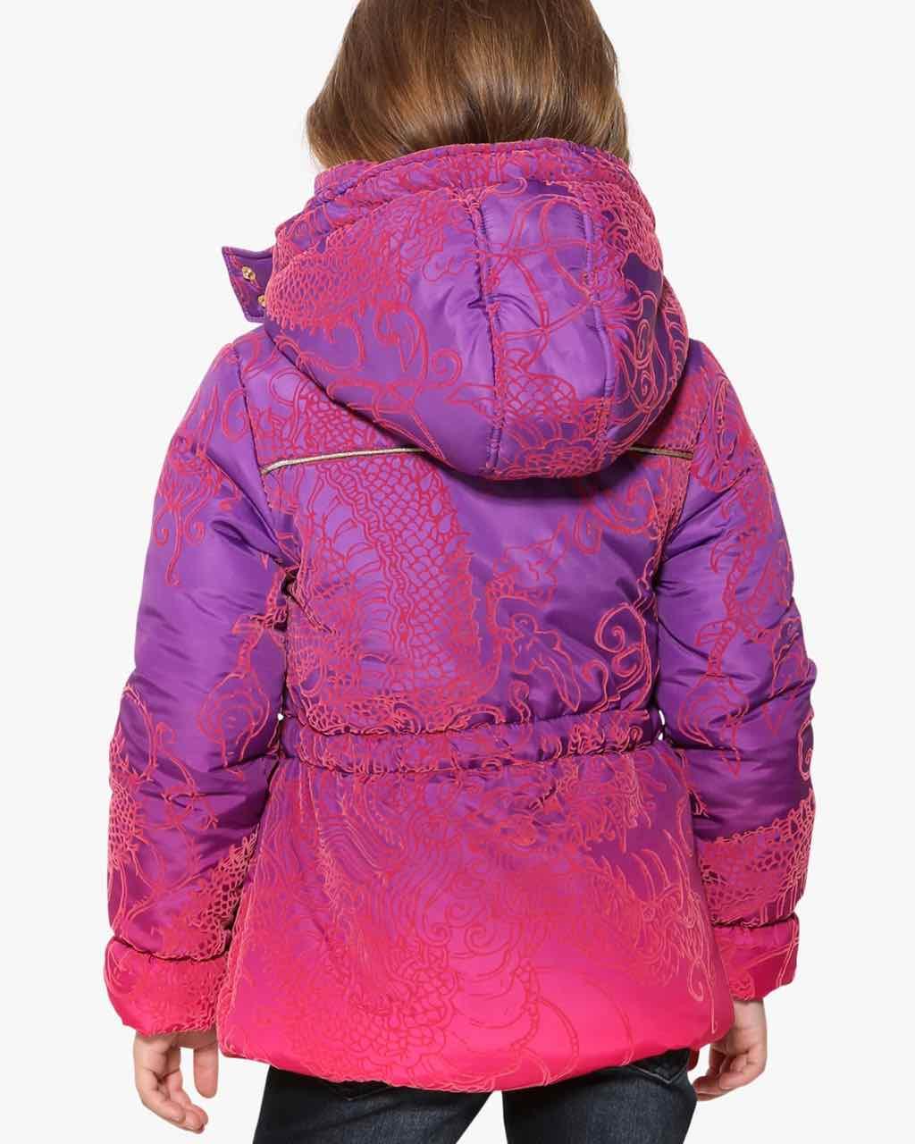 Desigual Girls Winter Coat Cardedeu 17wgew29 Purple Pink
