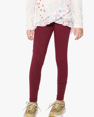 17WGKK16_3006 Desigual Girls Basic Leggings Bordo Buy Online