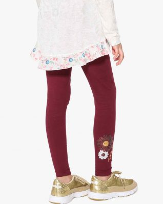 17WGKK16_3006 Desigual Girls Basic Leggings Bordo Canada