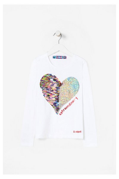 17WGTK83_1000 Desigual Girls T-Shirt Vancouver Reverse Sequins